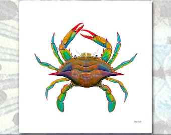 POP ART Maryland Blue Crab by Flick Ford, natural history art, crab painting, bright colors, sea creature, crustacean