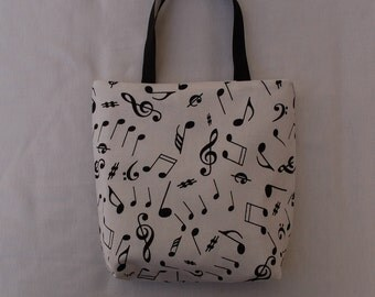 Fabric Gift Bag/ Party Favor Bag/ Goody Bag- Musical Notes on White