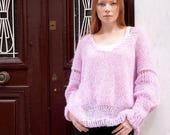 Pink off shoulder sweater, loose sweater, oversized, V neck pull, puffy long sleeves, soft alpaca and merino wool, winter handknit pullover