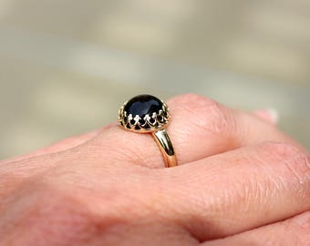 14K Solid Yellow Gold Black Onyx Ring, Genuine Onyx Ring, Solid Yellow Gold Ring, Gold Gemstone Ring,Natural Black Onyx 14K Yellow Gold Ring