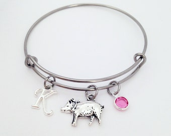 Pig gifts etsy easter gifts for her pig gifts pig bangle bracelet pig lover gift negle Choice Image