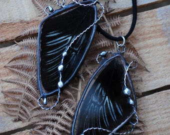 Real butterfly wing pendant, Black butterfly vintage jewelry, Black nature pendant, troides rhadamantus boho jewelry, butterfly necklace