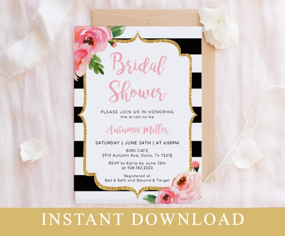 Pink floral bridal shower invitation template kate bridal shower il570xn maxwellsz
