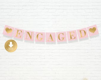 INSTANT DOWNLOAD - Blush Pink and Gold Lace Engaged Banner - Wedding Shower Banner - Engagement Party Decor