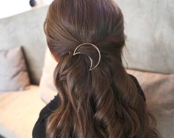 moon hair barette - moon hair clip - golden/silver hairclip
