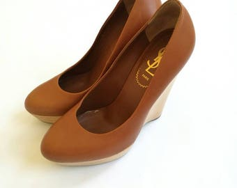 Vintage YSL paris camel brown platform wedge sole pumps size 37