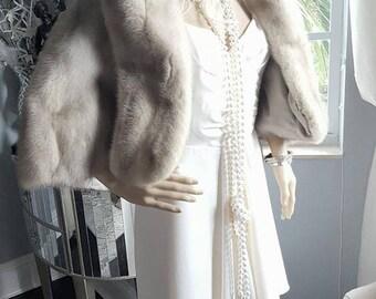 Luxury Vintage CHAMPAGNE Mink Fur Stole | Ivory  Mink Fur Stole | Fur Shawl | Bridal Bolero | Mink Fur Cape | Fur Shrug  | Real Mink Fur