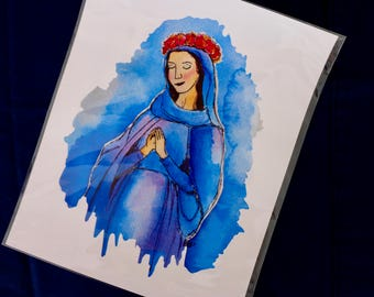 Blessed Mother Mary Watercolor Print