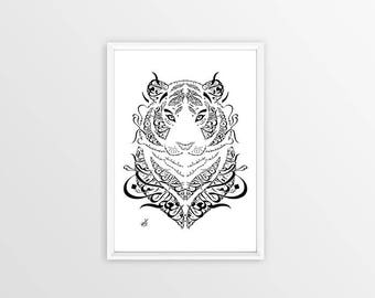 Rumi Poetry - Arabic Calligraphy Tiger - What you seek is seeking you - Arabic Wall Decor- Islamic Poetry - Sufi Poetry