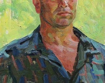 VINTAGE MALE Portrait, Original Oil Painting by Soviet artist A.Solodovnikov 1970s Man's Portrait, Socialist Realism,  Russian Ukrainian art