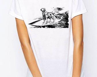 Golden Retriever Shirt T-shirt Surfing Tan Top Dog Lover Shirt Golden Retriever Lover Shirt Funny Labrador Shirt Golden Retriever Mom Dad