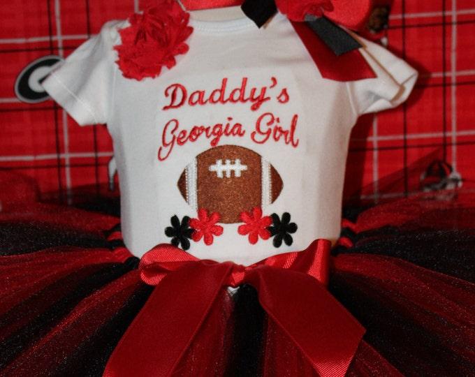 University of Georgia,Georgia Bulldogs, Dawgs,Daddy's Bulldog girl,Georgia girl outfit,Red and black tutu,Football shirt,Georgia headband