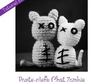 Crochet Pattern: amigurumi Zombie cat in key ring - Instant Download -