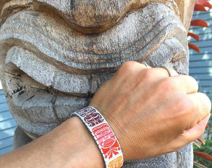 Tiki gods bracelet, Polynesian, Stainless Steel, Wrist Art, Stretch Bracelet, Wrist Band, Sublimation, Tiki art, gift for friend