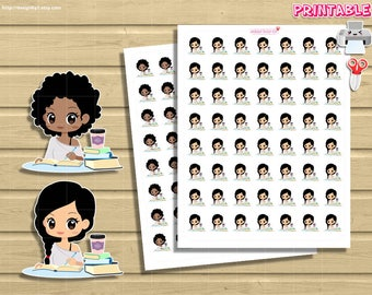 Chic Study Printable Planner Stickers. Kawaii Girl homeworks on desktop. Set for use with your Happy Planner, Recollections, Midori, etc