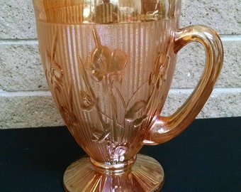 Iris and Herringbone Iridescent Marigold Pitcher by Jeannette Glass Company - Vintage 1950's Mid Century Carnival Glass