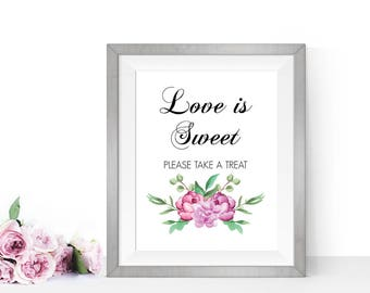 Love is sweet sign, Love is sweet take a treat, Printable wedding signs, Wedding reception sign, Wedding candy table,PRINTABLE love is sweet