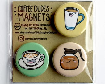 Coffee Magnets | Refrigerator Magnet | Fridge Magnet | Locker Magnet | Magnetic | Kawaii Magnet | Kawaii Illustration | Latte | Magnet Pack