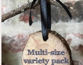Variety pack of 20 live wood craft rounds with pre-drilled holes (size small and medium)