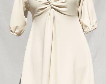 Ivory jersey wrap dress - camel beige jersey dress - 3/4 sleeves - Midi jersey wrap dress - Handmade - Made in France