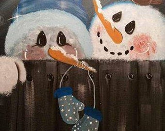 Snowman painting for Christmas