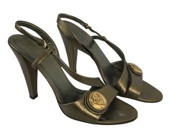 GUCCI Vintage Tom Ford Bronze Heels with Logo Monogram Medallion Sandals Shoes SZ 38