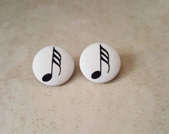 Music Note Stud Earrings - Music Earrings - 32nd Note Earrings - Cotton Fabric Earrings - Fabric Stud Earrings - Fabric Button Earrings