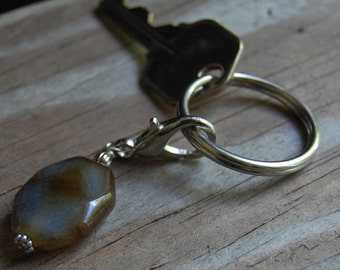 Gemstone Key Charm Genuine Agate