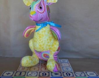 Stuffed Kangaroo Toy in Pink Paisley & Yellow