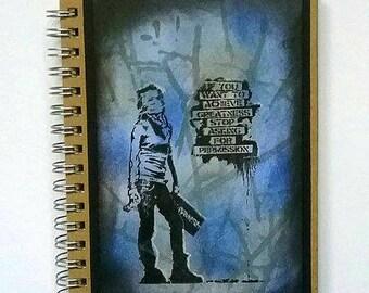 Hardbacked notebook, Teenage notebook, Greatness girl design, C6 notebook Student jotter, OOAK bookPocket book, Christmas gift stocking gift