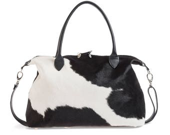 Cowhide Overnight Bag | Cowhide Weekend Travel Bag | Black and White Travel Bag