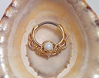 Wire Wrap Gold White OPAL lace filigree Septum Clicker, 316L surgical steel bar DAITH Ring 16g