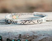 Hand stamped bracelet, Forge your own trail, mountain jewelry, mountain bracelet