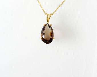 Smokey Quartz Necklace, 14K Gold Vintage Necklaces, Gemstone Necklace, Pear Smokey Quartz Jewelry