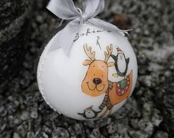 First Christmas Ornament, Reindeer Christmas Bauble, Personalised Christmas Gift, 1st Christmas Ornament, Concrete Christmas Ornament