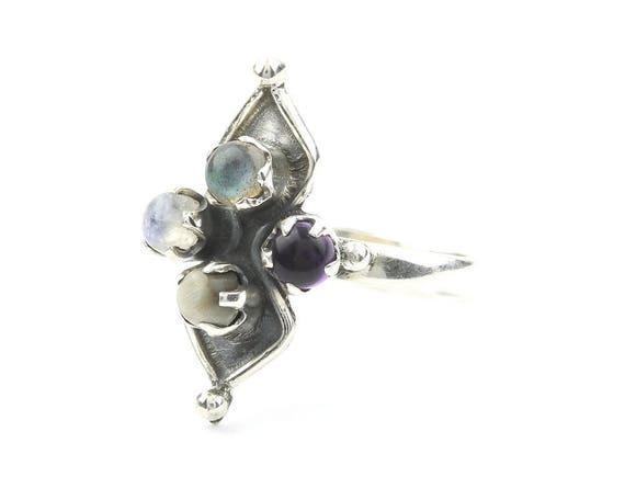 Ashes To Ashes Ring, Sterling Silver Moonstone Ring, Labradorite, Cat's Eye, Amethyst, Festival, Boho, Gypsy, Wiccan, Hippie, Spiritual