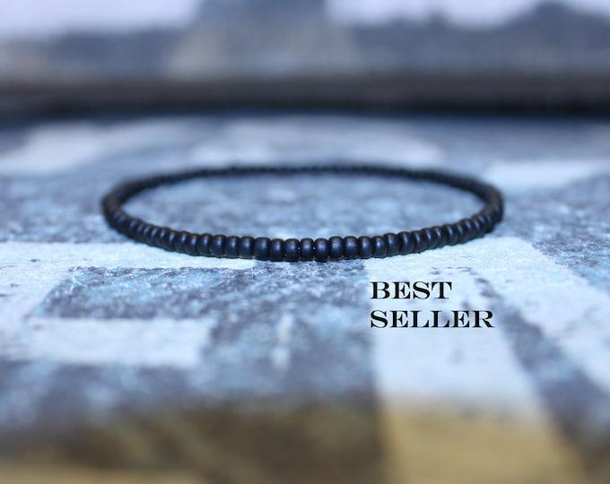 Featured listing image: Black Bead Bracelet for Him Birthday - BEST SELLER - Seed Beaded Bracelets, Mens gift for him Husband Gift , Mens Seed Bead
