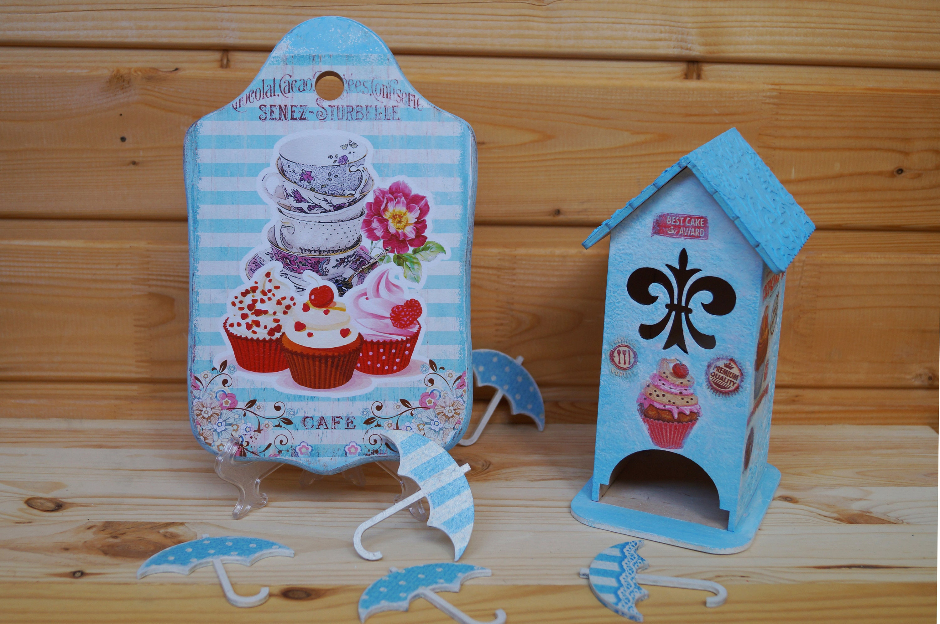 Cute kitchen set - Wooden Cutting board and Tea house Cupcake decor ...