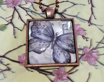 Vintage Inspired Purple Butterfly on Leaves Pendant Necklace