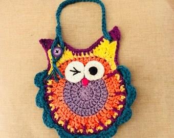 Colorful crochet owl baby bib