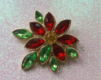 Vintage Christmas Flower Pin