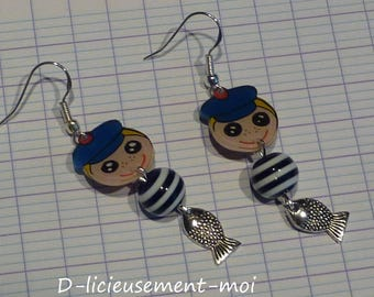 Earrings silver sterling 925 Moss marine sailor boy crazy crazy plastic striped bead and fish charm
