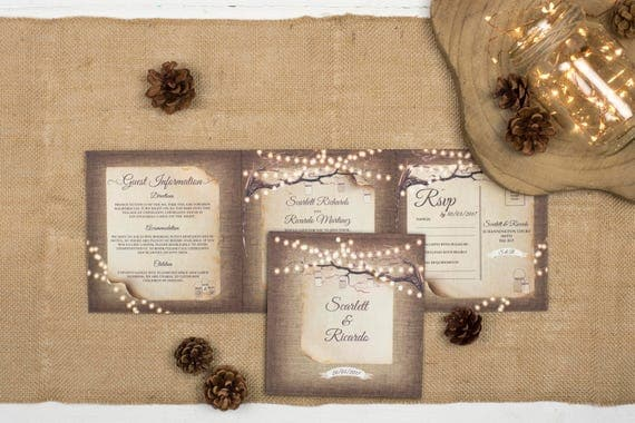 Rustic Wedding Invitation - Double-Folded Rustic Lights