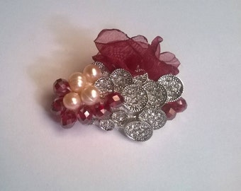 Brooch with natural pearls, faceted Crystal and organza pieces antique jewelry. Red brooch, pin