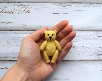 Little bear Needle felted bear Cream bear Miniature Teddy Bear