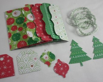 Christmas Gift Card Money Holders Pack of 4 Different Designs 14 Piece Set Includes Tags And Bakers Twine Handmade  Pink & Green#2