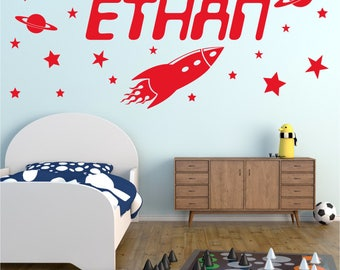 ROCKET Personalised ANY NAME Space Planet Universe Stars Boys Childrens Bedroom Matt Vinyl Wall Art Sticker Decal 20 colours / 3 Sizes