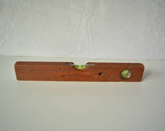 Vintage water balance, teak wood. Vintage bubble level, teak wood measure tool nostalgic crafting present for the handyman male poison