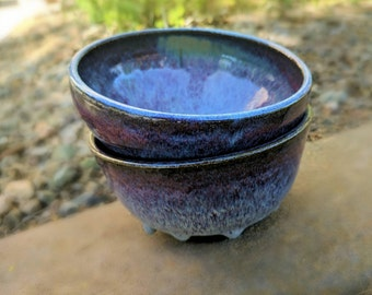 Blue Ceramic Bowls, Handmade Cereal Bowls, Purple Pottery, Soup Bowls, Noodle Bowls, Rice Bowls  - Sold As Set of 2