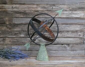 Vintage Swedish Garden Armillary Sundial, Cast Iron Zodiac Base Armillary Sphere Copper Details